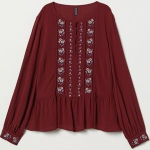 H&M Burgundy Embroidered Blouse- NWT- Sz 4